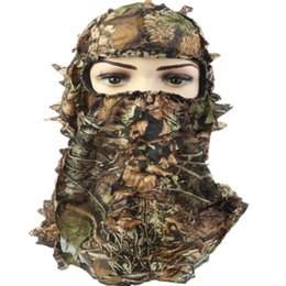 Discount tactical helmet face mask - Headgear Fishing Ski Paintball Hat Hunting Mask Helmet Liner Full Face Tactical Scarf Leaf 3D Camouflage Bicycle Cycling