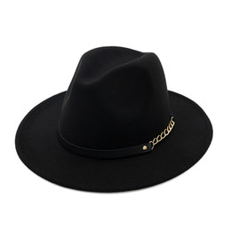 Green Wide Brimmed Hat UK - New Women Wool Fedora Panama Hat Winter Wide Brim Felt Church Jazz Cap with Leather Metal Chains Belt