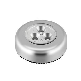 $enCountryForm.capitalKeyWord Australia - 3 Led Silver Closet Lamp Battery Powered Wireless Stick Tap Touch Push Kitchen Bedroom Night Light 1pc