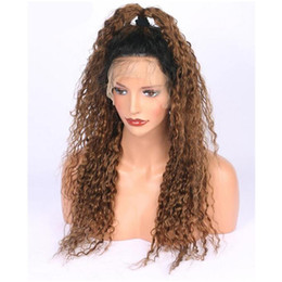 Two Tone curly hair for blacks online shopping - Two Tone Ombre bT30 Human Hair Wig Full Lace Human Hair Wigs For Black Women dark roots Ombre Lace Front Human Hair Wigs