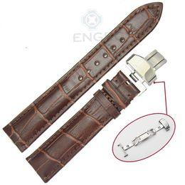 21mm Strap Australia - 100% Genuine Leather Soft Watch Band Strap 18mm 19mm 20mm 21mm 22mm 24mm Black Brown Watchband Belt Deployment Clasp