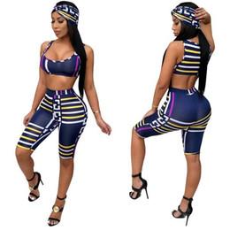 $enCountryForm.capitalKeyWord Australia - Summer Women's Sexy Plaid Print Three Piece Tracksuit Sets Blue Striped Crop Sleeveless Vest and Short Capris with Headband 3Pcs Outfits Set