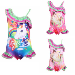 0d5fe52eaa4 rainbow Unicorn print Summer Baby Girls Swimsuit Children Kids Swimwear  Fashion Girls One-piece Beach Swimming Bikini Suit AAA1862