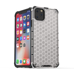 honeycomb iphone UK - For iPhone 11 Pro Max Case Cover Hard Clear Honeycomb Design Soft Silicone Edge Hybrid Armor Defender Drop Resistant