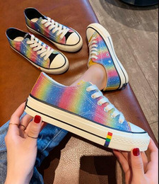 $enCountryForm.capitalKeyWord Australia - 2019 new fashion women Casual Shoes colours of the rainbow lace-up comfortable Canvas shoes Single shoes