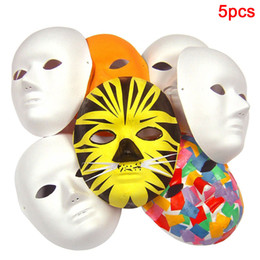 Adult white blAnk fAce mAsk online shopping - 5Pcs DIY Hand painted Costume Adult Biodegradable Plain Men Women Blank Unpainted White Cosplay Party Fancy Dress Face Mask