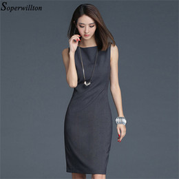 sleeveless work dresses Canada - 2020 New Summer Office Dress Women Elegant O-neck Sleeveless Knee Length Black Grey Wear to Work Sheath Ladies Dresses #BD725 Y200623