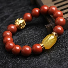 wholesale frosted beads Australia - c84El New natural frosted red agate Red Buddha bead agate Stone prajna Heart Sutra Ping An Zhu bracelet men's and women's Buddha beads brace