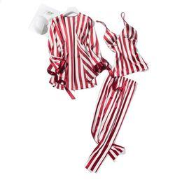 $enCountryForm.capitalKeyWord NZ - Cute Stripe Women Pajamas Sets Sexy Silk Sleepwear Suit 3 Pcs Nightdress + Robe + Pants Satin Night Home Wear Pyjama Femme Y19071901