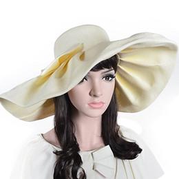 $enCountryForm.capitalKeyWord Australia - Women Linen Floppy Ruffle Hat With Big Bowknot Wide Large Brim Sun Hats Wedding Cap Summer Beach Caps A1