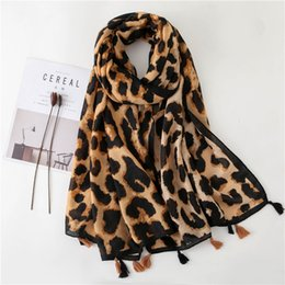 leopard scarf cotton Australia - 2019 Fashion Women Leopard Print Scarf 180*90cm Leopard Stole Thin Cotton Warm Large Shawls and wraps foulard femme cachecol