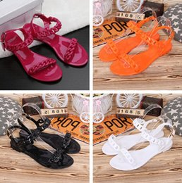 chain open toe sandal NZ - 2019 new fashion women hot sale summer Europe and the United States Candy color chain open-toed comfortable ladies flat beach sandals