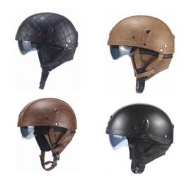 Leather Half Motorcycle Helmets Australia - motorcycle helmet for harley davidson half sunscreen helmets cascos casco per moto motocicleta scooter motorbike leather classic New 2019