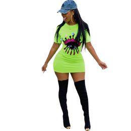 928042fe383 Women Embroidery Big Eye Summer Short Sleeve Dresses Sequins Short Tight  Skirt Bodycon Skirt Night Club Sports Party Dress News 2019 C416