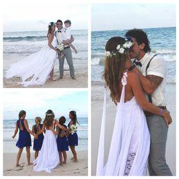 $enCountryForm.capitalKeyWord Australia - Beach Wedding Dresses A Line Spaghetti Lace Chiffon Side Slit Backless Floor Length Vestidos De Novia White Bohemian Wedding Bridal Gowns