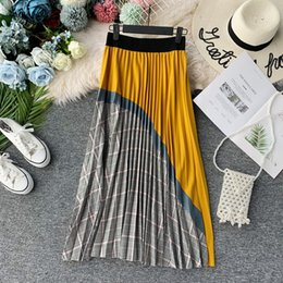 Wholesale winter swing resale online – Autumn Winter Women Fashion High Waist Slim Stretch A line Stitching Pleated Skirt Ladies Mid calf Lattice Swing Long Skirt