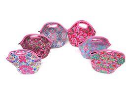 Neopren Taşınabilir Öğle Yemeği Çantası Renkli Taşıma çantası Zambak Naylon Fermuar Tote Piknik Açık Seyahat Yalıtımlı Çanta Moda Çanta Kılıfı A4902