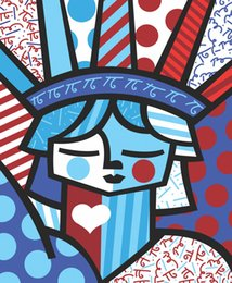 Statue Liberty Paintings Australia - Romero Britto Cartoon Abstract Art Statue Of Liberty,Oil Painting Reproduction High Quality Giclee Print on Canvas Modern Home Art Decor
