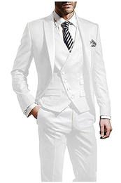 Dark Green Tie Grey Suit Australia - New Arrival Groom Tuxedos White Groomsmen Peak Lapel Best Man Suit Wedding Men Suits Bridegroom Blazer (Jacket+Pants+Tie+Vest) A5