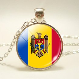 Necklaces Pendants Australia - New Minimalist Vintage Time Gem Glass Cabochon Moldova National Flag World Cup Football Fan Pendants Choker Necklace For Womens Mens Jewelry