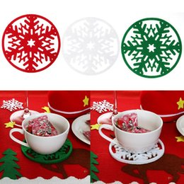 Discount tree tables - Merry Christmas Snowflake Shape Cup Mat Dinner Table Coasters Dish Pad Natal Noel New Year Christmas Decorations for Hom