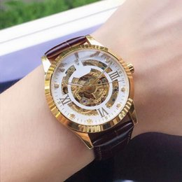 Skeleton watcheS leather Strap online shopping - automatic skeleton watch man luxury mens designer watches crystal mirror real leather strap mechanical self wind movement wristwatches