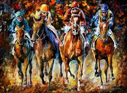 Hand art painting online shopping - hand painted horse racing oil paintings knife painting Leonid Afremov artist canvas painting decoration wall art home decoration