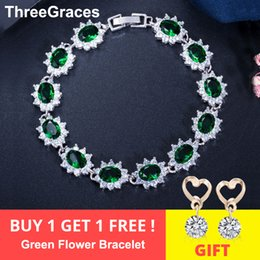 925 sterling big silver bracelets UK - ThreeGraces Elegant 925 Sterling Silver Cubic Zirconia Jewelry Dark Green Big Flower Crystal Charm Bracelets For Women BR054