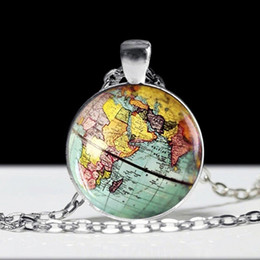 New York Necklace Australia - Globe Earth World Map Pendant Glass Chain Jewelry New York Map Necklace