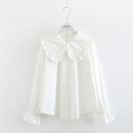 3c88044a2 2019 mori niña dulce con volantes cuello peter pan flare manga algodón  camisa blanca blusa femenina 47074
