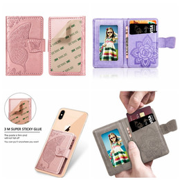 $enCountryForm.capitalKeyWord Australia - Flower Universal Back Phone Card Slot 3M Sticker Leather Stick On Wallet Cash ID Credit Card Holder For iPhone XS MAX Note 10 Butterfly Case