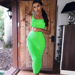 $enCountryForm.capitalKeyWord Australia - Neon Fashion Orange Green 2 Two Piece Sets 2019 Summer Sexy Club Women Sleeveless Short Tank Tops And High Waist Maxi Skirt