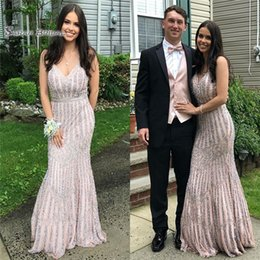 MerMaid wedding dresses high online shopping - 2019 Sequined With Beads Mermaid V neck Prom Dress High end Customed Made Vestidos De Novia Party Gown