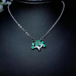 Necklaces Pendants Australia - Handmade Natural Emerald Necklace 925 Sterling Silver Big Tree Design Gemstone Pendant Adjustable Necklace For Valentine's Day Gifts