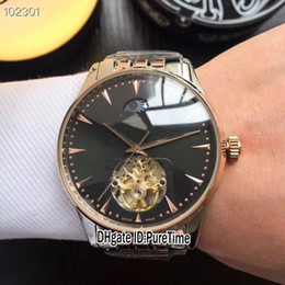 Cheap big dial watChes online shopping - New Master Two Tone Rose Gold Black Dial Moon Phase Big Tourbillon Automatic Mens Watch Stainless Steel Watches Colors Cheap JL E03B2