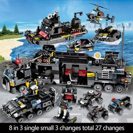 toys city NZ - SEMBO 695PCS SWAT Military Series Truck Car Building Blocks City Police Helicopter Ship Figures Bricks Toys for Children