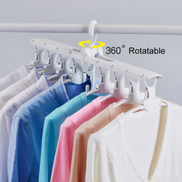 Plastic Foldable Clothes Hangers Australia - 360 Degree Rotation Drying Racks Multifunctional Wardrobe Magic Hanger Foldable Clothes Storage Hangers Household Multi-layer DH1029