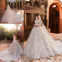 ball gown wedding dresses veils Australia - 2020 Champagne Ball Gown Wedding Dresses Off the Shoulder Full 3D lace Flowers Court Train with veil Custom Made lace up Bridal Gowns