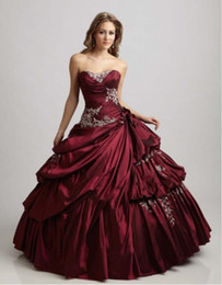 $enCountryForm.capitalKeyWord Australia - Vintage Deep Red Bridal Gowns With Color Sweetheart Ball Gown Floor Length Taffeta Gothic Quinceanera Burgundy Wedding Dresses With Color