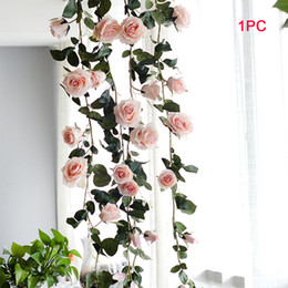 Silk White Rose Leaves NZ - 180 Cm Wedding Plant Artificial Flower Leaves Vine Rose Hanging Decorative Garland Silk Real