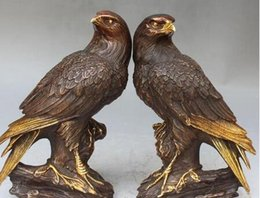 "brass birds NZ - Copper Brass CHINESE crafts decoration Asian 10"" Marked Chinese BRASS Gilt Carving Parrot Bird Eagle Tree Pair Sculpture"
