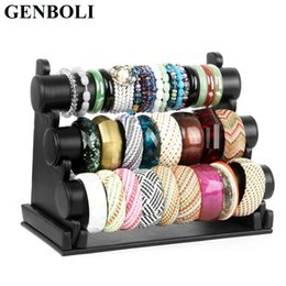 round jewelry display stand NZ - Velvet PU Leather 3 Layers Watch Holder Women Desktop Bracelet Bangle Jewelry Show Rack Showing Stand Display