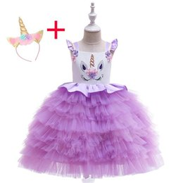 $enCountryForm.capitalKeyWord UK - 2019 Summer Girl Unicorn Dress Kids Children Layered Dress Party Birthday Pageant Ball Gown dress For Girl