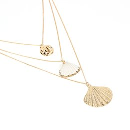 $enCountryForm.capitalKeyWord Australia - European and American fashion new creative new accessories Bohemian style explosion natural shell gold pendant multi-layer female necklace