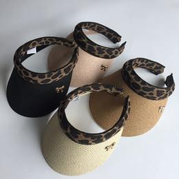 Hands Free Visor Australia - 2019 New Woman's Sun Hats Female Leopard Bowknot Visor Caps Hand Made DIY Straw Summer Cap Casual Shade Hat Empty Top Hat Beach