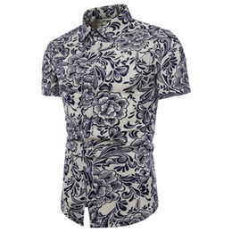 Wholesale Mens Linen Shirts UK - feitong floral shirt Men Summer Bohe Floral Short Sleeve Linen Basic Shirt Blouse mens shirts casual slim fit Top chemise homme