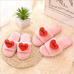 $enCountryForm.capitalKeyWord Australia - Cartoon Love Fluffy Women Slippers Patchwork Thicken Anti Slip Flip Flops Casual Plush Warm Slippers Fashion Women Shoes