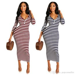 dresses apparel Australia - Fashion Womens Striped Designer Shirt Skirt Slim Straight V Neck Button Stripes Dress Women Casual Apparel