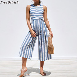 $enCountryForm.capitalKeyWord Australia - FREE OSTRICH Female Slim Fit Vertical Stripe V-neck Long Jumpsuits Fashion Ladies Button Sleeveless Wide Leg Rompers Plus Size