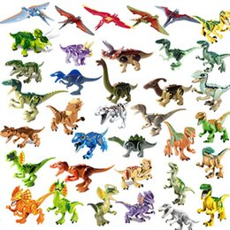 Wholesale 20pcs Jurassic work Park Building Block bricks Dinosaur pterosaur Indomirus T Rex Triceratops baby toys children gift educational model